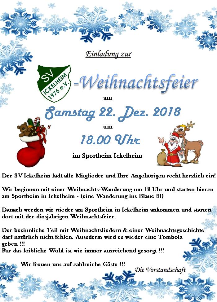 Weihnachtsgeschichte Weihnachtsfeier.Sv Ickelheim Weihnachtsfeier 2018 Ickelheim Info